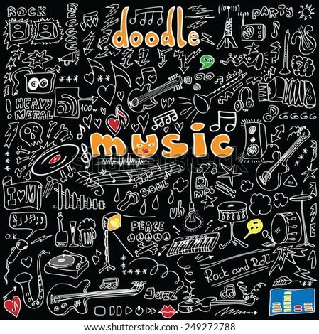 big set doodle music symbols