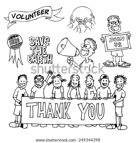 handrawing doodle of volunteers