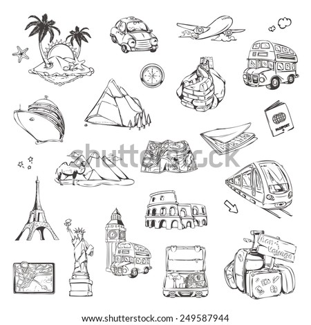 travel  sketches of icons