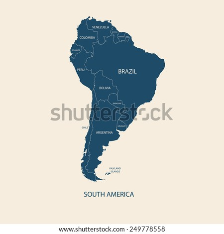 south america color map with