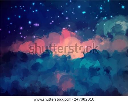 night sky brush strokes