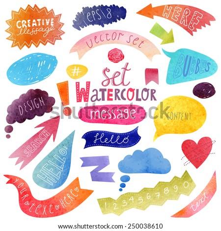 watercolor hand drawn speech