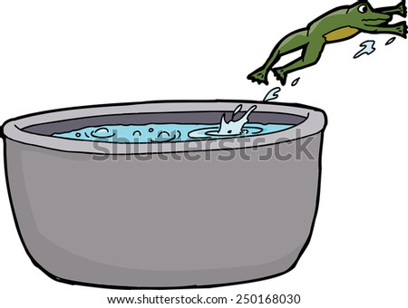 cartoon of frog leaping out of