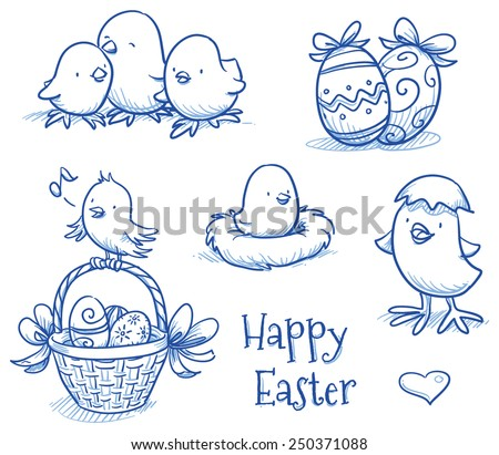 cute easter icon and chick