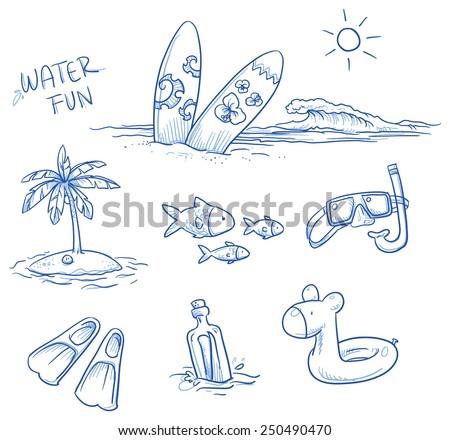 icon set summer beach holidays