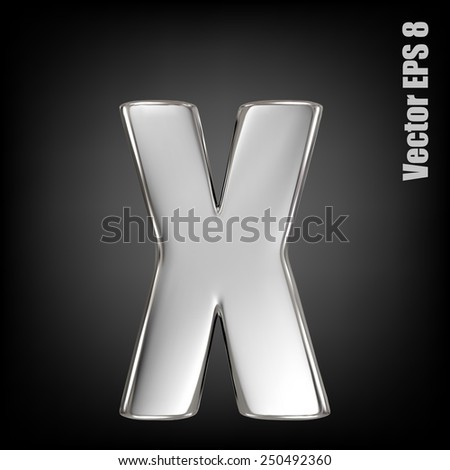 vector letter x from metal