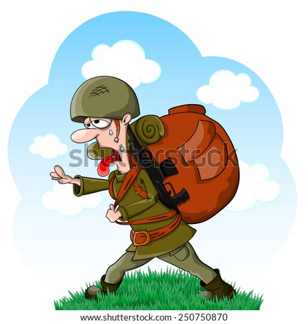 tired vector cartoon soldier in