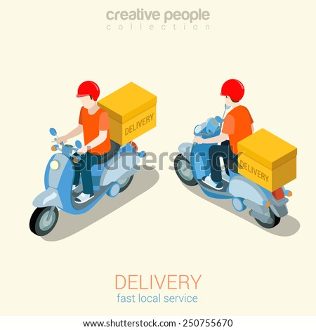 scooter delivery man flat 3d
