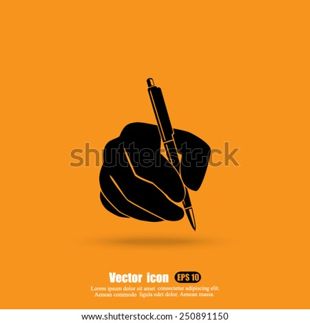 hand and pen vector icon