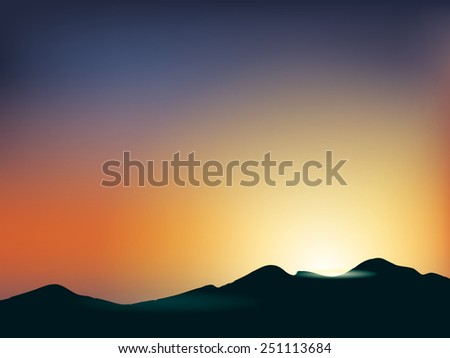 sunset and mountain scene vector
