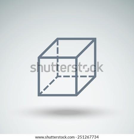 geometric cube vector icon