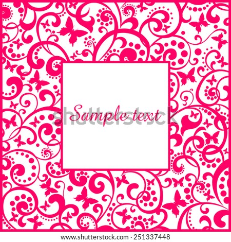 pink flower frame isolated on