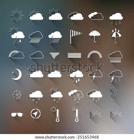 vector set of weather icons on
