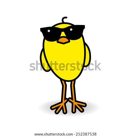 yellow chick wearing black