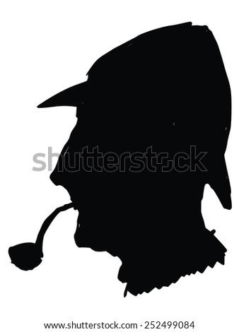 black silhouette of sherlock