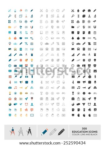 set of 300 education icons made