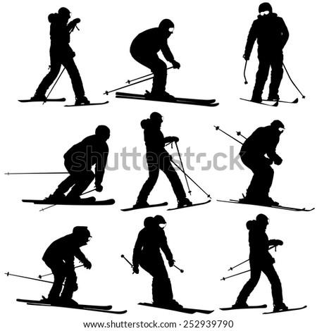 mountain skier   men and woman