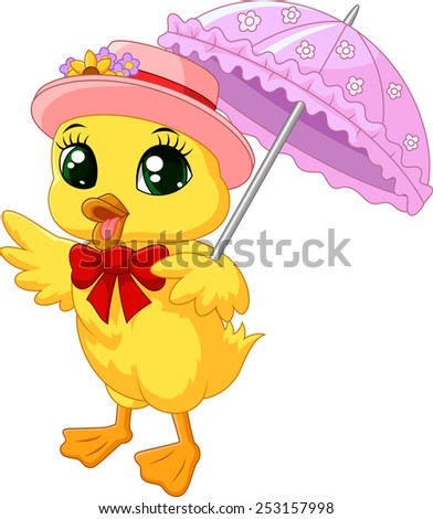 cute cartoon duck with pink
