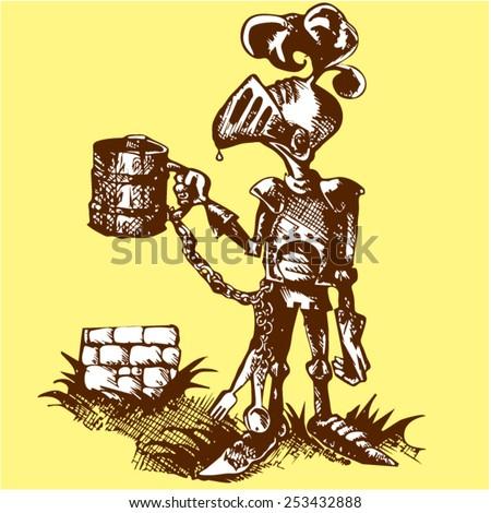 knight with a mug yellow