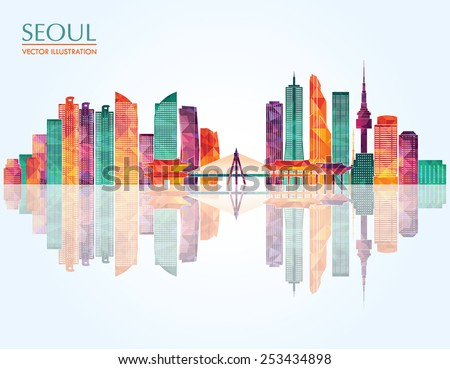 seoul detailed skyline vector