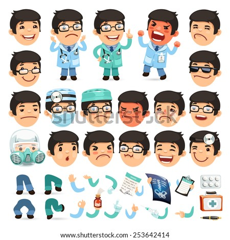 set of cartoon doctor character