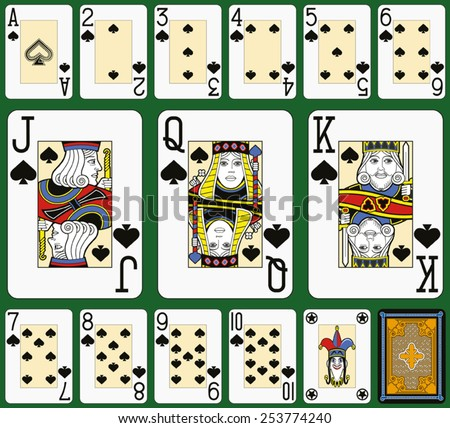 playing cards  spades suite