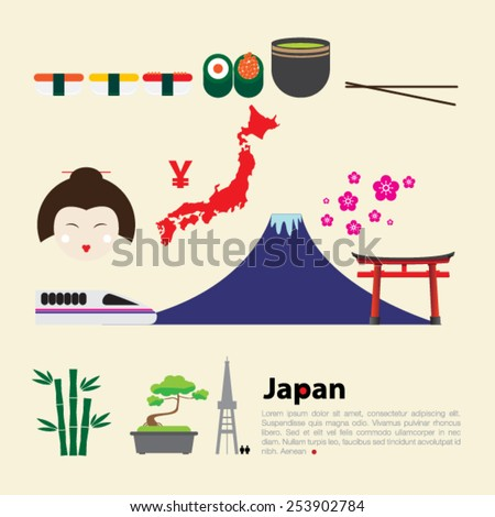 japan flat icons design travel