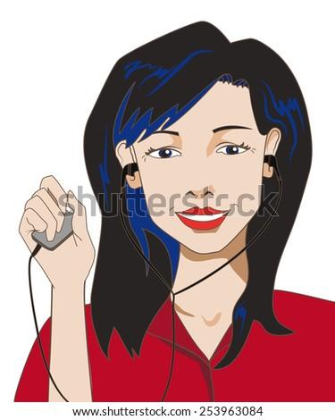 brunette girl holding a music
