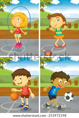 illustration of four children