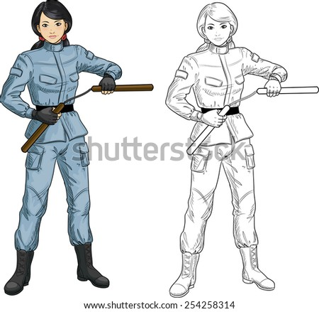 young healthy asian girl armed