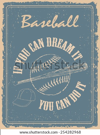 vintage baseball poster on old