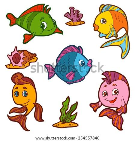 set of cute fish and natural