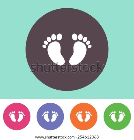 vector baby footprint icon on