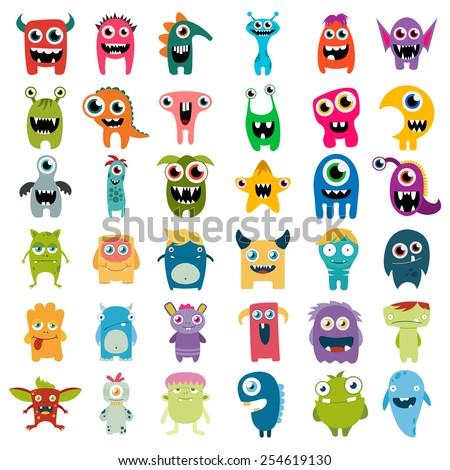 big vector set of cartoon cute