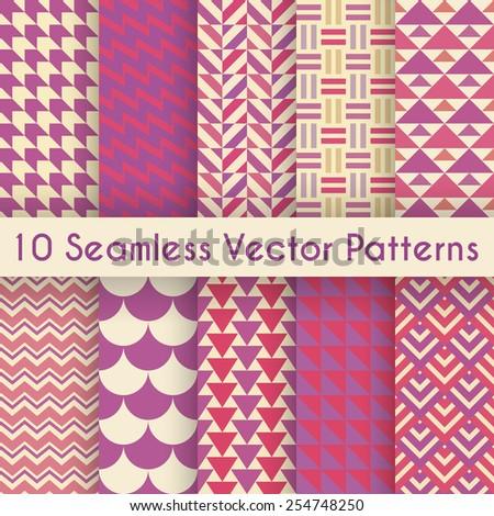 10 abstract retro seamless