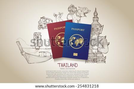 thailand travel poster hand