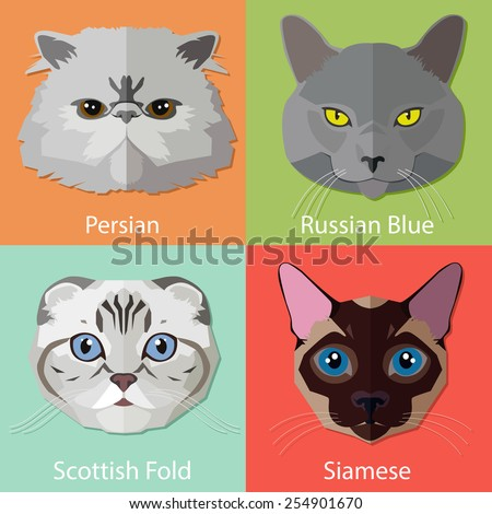 set of flat cats faces icons