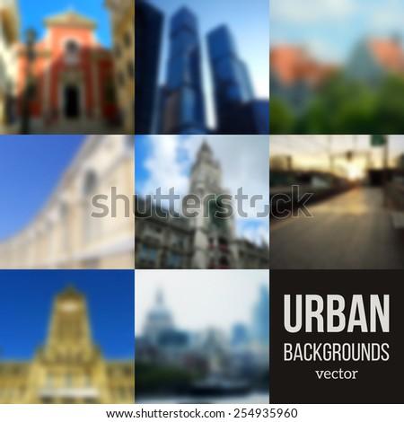 set of blurred urban