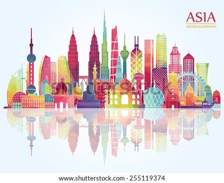 asia skyline detailed