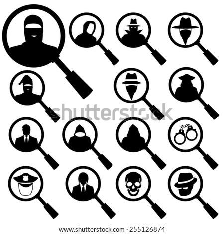 thief icon black people set