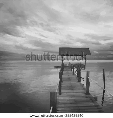 landscape of wooden bridge pier