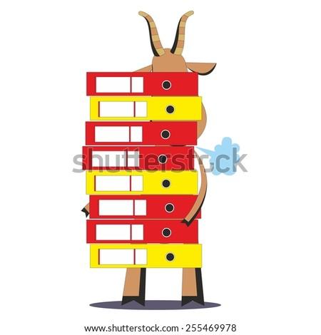 cartoon businessman goat
