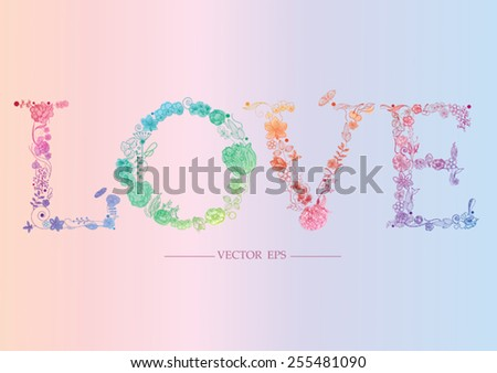 floral letters l o v e