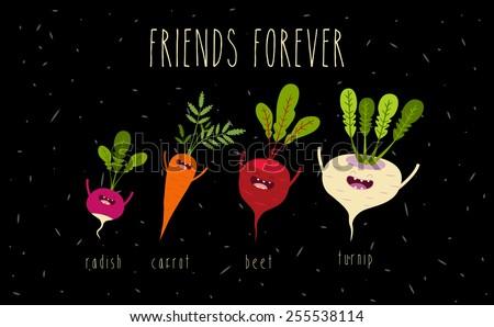 a set of cartoon vegetables