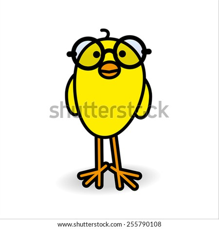 single smiling yellow chick