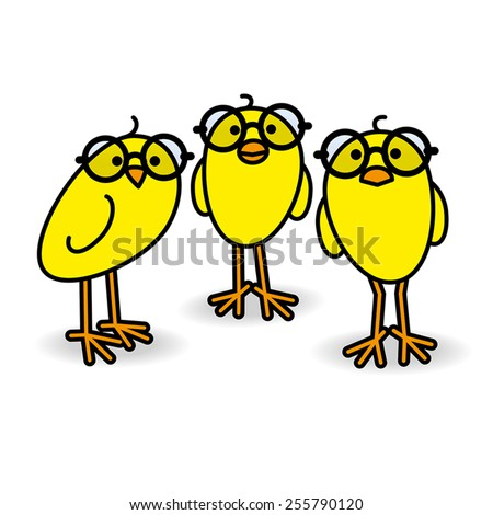 three small cute yellow chicks
