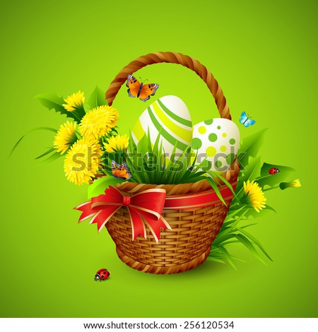 easter card with basket  eggs