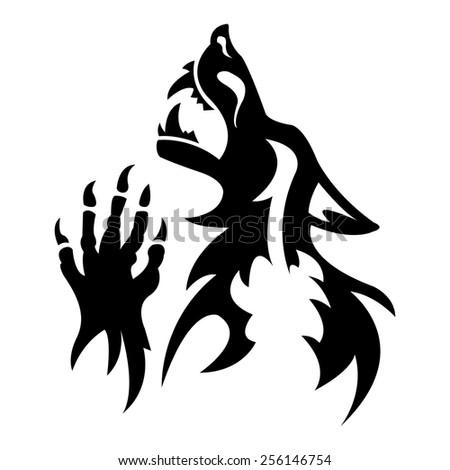 vector werewolf stencil dark