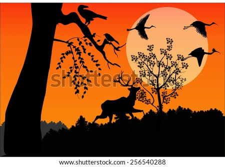 silhouettes of birds and deer
