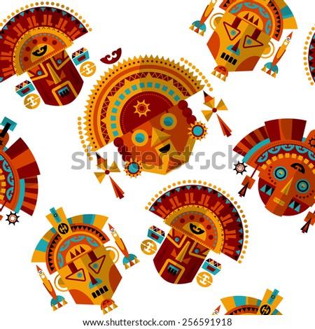 inca masks seamless background